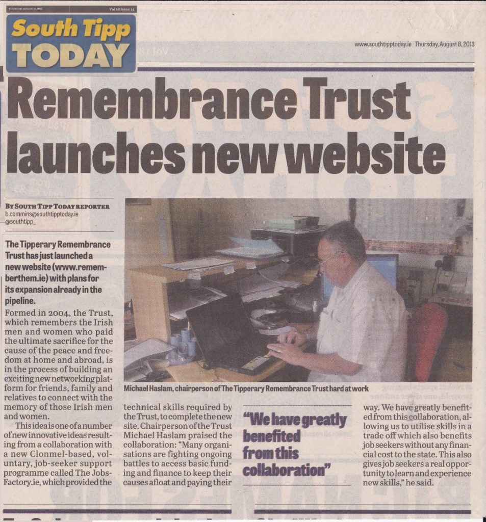 2013 - Remembrance Trust launches new website - (South Tipp Today)