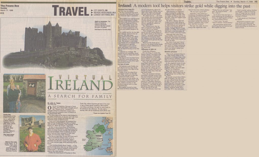 "1996 - A Virtual Tour Of Ireland Project Wins US Press - ""Virtual Ireland"" (The Fresno Bee)"