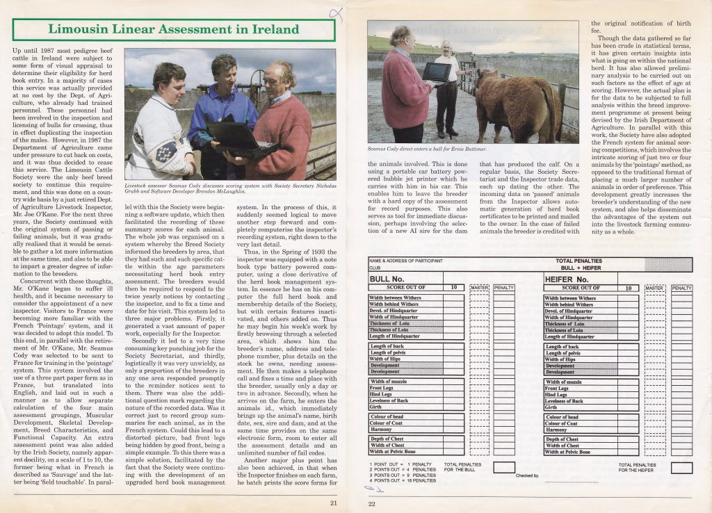 1993 - Limousin Linear Assessment In Ireland - (Irish Limousin Cattle Breed Society Yearbook)